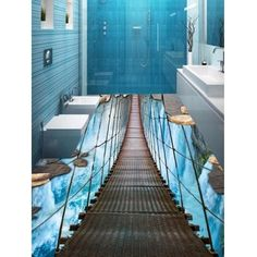 Projects to try Hanging Bridge Waterfall Print Floor Stickers Parents' Involvement In Schools Is Floor Murals, Floor Decal, Floor Stickers, Wall Stickers, Wall Murals, 3d Floor Art, Floor Design, Wall Design, House Design