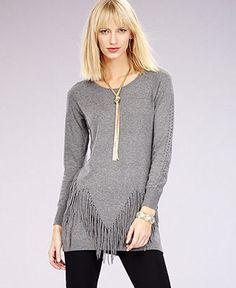 INC International Concepts Long-Sleeve Fringed Sweater - Macy's
