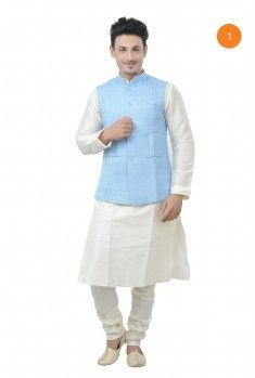 Manyavar Designer Kurta. The plain art silk, off white kurta with stich line detailing on placket and sleeves, pleated pintucks on collar, gives you a classic look and is ideal for all occassion.