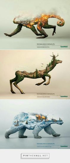 Destroying nature is destroying life on Behance… – a grouped images picture – Oriel D. Destroying nature is destroying life on Behance… – a grouped images picture – Oriel D.,Abschlussprüfung Destroying nature is destroying. Creative Advertising, Advertising Design, Advertising Campaign, Ads Creative, Creative Posters, Advertising Poster, Aquarell Tattoo Vogel, Image Beautiful, Amazing Animals