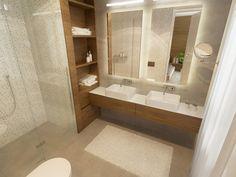 Páči sa: riešenie sprchového kúta, farby, umiestnenie políc. Možno by bolo fajn mať navyše ešte zásuvky pod umývadlom - úložný priestor.