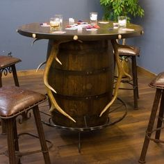 Elk Antler Whiskey Barrel Pub Table