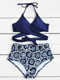 Calico Print Wrap High Waist Bikini Set Material: Polyester Top: Halter Top Color: Navy Style: Vacation Pattern Type: Floral Type: Bikinis Chest pad: YES Bust(c Bikini Swimwear, Bikini Beach, Navy Bikini, Bikini Tops, Women's Bikinis, High Rise Bikini, Mix And Match Bikini, Cute Bathing Suits, Bikini Set