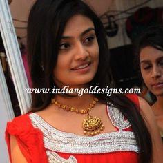 Gold and Diamond jewellery designs: lakshmi devi temple jewellery necklace