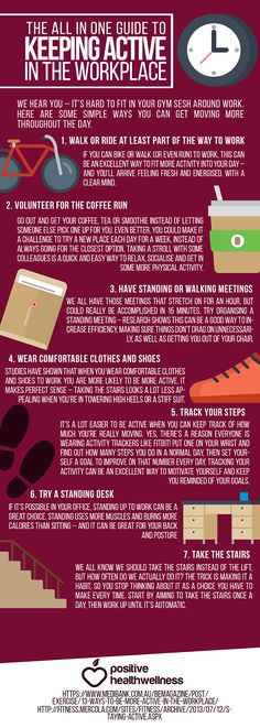 The All In One Guide To Keeping Active In the Workplace – Positive Health Wellness Infographic Health And Nutrition, Health And Wellness, Healthy Mind And Body, Get Moving, Living A Healthy Life, Mind Body Soul, Workout Challenge, Simple Way, All In One