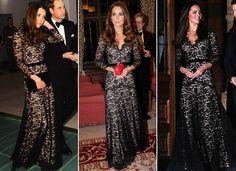 Kate Middleton com o vestido da grife Temperley London em janeiro de 2012, novembro de 2012 e em dezembro de 2013 (Foto: Getty Images)