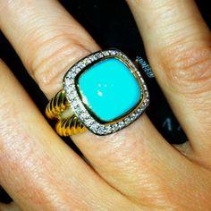 David Yurman, Turquoise Gold Ring.
