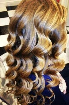 #Golden #curls  --- My mom used to set my hair using a long half inch piece of rag, folded in half. She'd twist my wet hair around one half and then twist the other piece of rag around the hair. I'ts kind of hard to explain, but the outcome looked like this. After brushing I had waves.