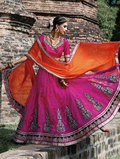 Magenta Net Wedding Lehenga Choli 70108