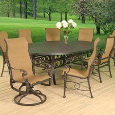Gensun Cast Aluminum Patio Furniture | Florence Cast Aluminum Sling Dining  Groupings   American Sale