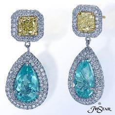 Paraiba earrings handcrafted with Mozambique pear-shaped paraibas attached to radiant natural fancy yellow diamonds, edged in micro pave. Platinum and 18KY.  Center: Mozambique pear shape paraibas 4.91 ct tw  Diamonds: Round 1.63 ct. tw.  Yellow Diamonds: Radiant FY VS 1.60 ct tw