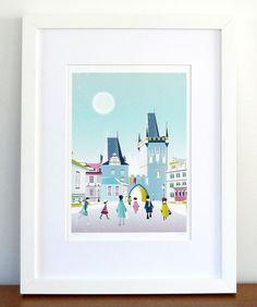 Prague, Charles Bridge, Czech Skyline Cityscape, paper print wall art poster, picture home, office, nursery, bedroom, kitchen, gift, SPPPCB1