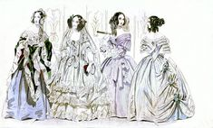 December 1840 Godey's Lady's Book - Wedding and Ball Gowns | Fashion plate from the December 1840 issue of Godey's Lady's Book.