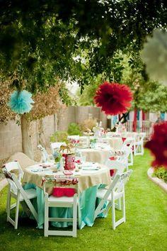 backyard party decorating ideas   ... party decoration weddbook garden wedding paper pom poms party
