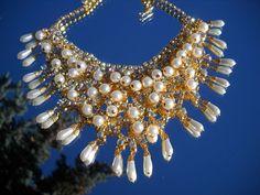 stunning Vintage antique bib necklace