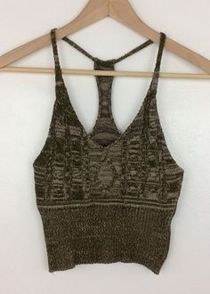 green madison knit crop top