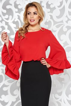 StarShinerS bell sleeves red women`s blouse from veil fabric elegant flared Hot Outfits, Office Fashion, Lace Detail, Soft Fabrics, Veil, Bell Sleeves, Glamour, Elegant, Long Sleeve