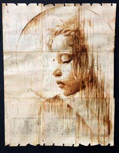 Coffee portraits 100 years old paper
