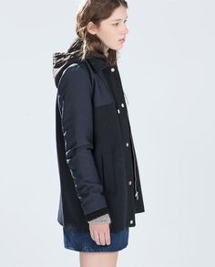 Image 2 of COMBINED WOOL COAT WITH HOOD from Zara