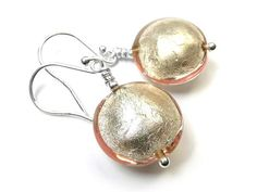 Murano Glass Lentil Earrings - Champagne Glass Earrings, Drop Earrings, Murano Glass Beads, Gold Leaf, Pale Pink, Sterling Silver Jewelry, Champagne, White Gold, Drop Earring