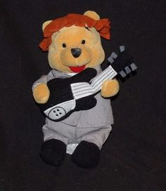 "Disney Store Winnie the Pooh Gray Suit Guitar Plush Bean Bag Small 8"" #Disney"