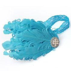 Lovely Ovely Unusal Cotton Baby Girls Infant Bow Peacock Headband Hairband Feather Flower Hair Band BlueWhite Diamond