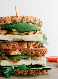 grilled tofu and avocado sandwich
