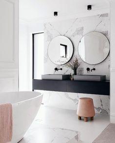 marble bathroom wall cladding, vanity top floating in black . Bathroom Wall Cladding, Bathroom Inspiration, Bathroom Ideas, Bathroom Inspo, Elegant Homes, Bathroom Interior Design, Interior Livingroom, Bathroom Renovations, Bathroom Makeovers