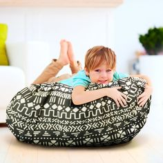 Jumbo Stuffed Animal Storage Bean Bag Chair & Portable Play Mat Bag - Extra Large 60 Inch Gather-N-Go Toy Organizer w/ Black Geometric Print by Kiddo Kind Stuffed Animal Holder, Stuffed Animal Storage, Organizing Stuffed Animals, Giant Stuffed Animals, Plastic Bins, Toy Organization, Plush Animals, Toy Storage, Play
