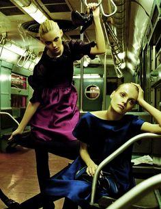 Subway Style - Viktoriya Sasonkina & Anna Jagodzinska photographed by Steven Meisel for the A/W 2008/09 Alberta Ferretti advertising campaign.