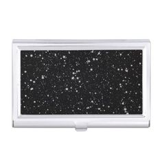 Glitter Stars2 - Silver Black Business Card Case - black gifts unique cool diy customize personalize