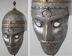 Persian war mask with helmet, 16th century, a presentation gift to the Russian court. Delegates from abroad would present their precious shields, helmets, ceremonial armor, and opulent silks and velvets in an elaborate parade before Russian dignitaries. Each item was carefully chosen to appeal to Russian taste. Moscow Kremlin Museums.