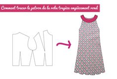 - Robes - patron de robe trapèze avec empiècement rond How to go from the basic bodice pattern to a trapeze dress pattern with round yoke pattern Fancy Robes, Bodice Pattern, Hair Color For Women, Sewing Projects For Beginners, Sewing Techniques, Sewing Hacks, Sewing Tips, Corsage, Rodeo