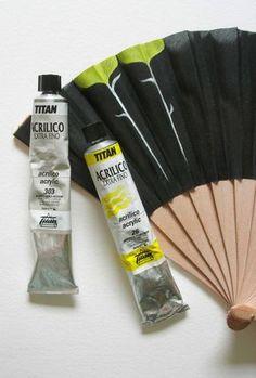 titanarts acrylics on spanish fan Painted Fan, Hand Painted, Wooden Fan, Diy Fan, Fabric Dolls, Art For Kids, Arts And Crafts, Artsy, Hand Fans