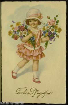 Fröhliche Pfingsten,goldgeprägte Künstler Ak von 1923,Kindermotiv,Mädchen m. Hut | eBay