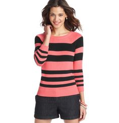 Striped Cotton 3/4 Sleeve Sweater