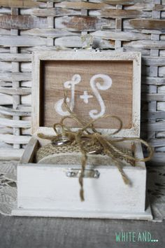 Shabby chic ring box by WHITEand on Etsy. Buy it here for $33.50: https://www.etsy.com/listing/233264768/shabby-chic-ring-box?ref=listing-shop-header-2 #shabby chic #rustic chic #jute #lace @wedding #whiteand #ring #pillow ring #ring box