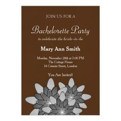 Shop Chocolate Brown Gray Floral Lotus Bachelor Party Invitation created by sunbuds. Bachelor Party Invitations, Unique Invitations, Engagement Party Invitations, Create Your Own Invitations, Wedding Invitation Design, Zazzle Invitations, Bachelorette Party Games, Brown And Grey, Gray