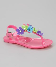 Look what I found on #zulily! Fuchsia Flower T-Strap Jelly Sandal by Chatties #zulilyfinds