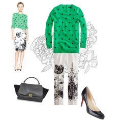 Polka dots and floral on Polyvore