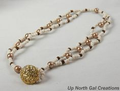 Ladder Weave Necklace with Light Tannish by UpNorthGalCreations