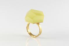 Vu – złoty pierścionek, żółty kanarkowy -=PYO=- w Fruit Bijoux na DaWanda.com