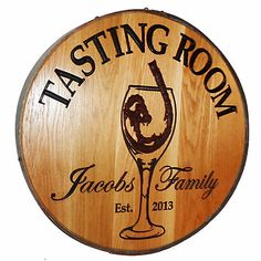 Personalized Reclaimed Wine Barrel Head with Tasting Room and Wine Glass at Wine Enthusiast - $349.00