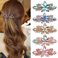 hair clips for women crystal: Best Price New and Hot ! Women Fashion Flower Leaf...