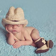Newborn Baby Boy Infant Hand Knit Cowboy Photo Prop Photograph Hats Boots Outfit
