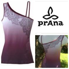 WKND SALEOmbre PrAna yoga tank top Beautiful Mehndi Print one shoulder top from PrAna. Has shelf bra. Very gently worn condition. prAna Tops Tank Tops