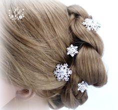 Wedding Hair Pin Snowflake Hair Pin set of 5 by PureRainDesigns, $28.00