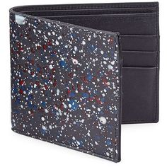 Maison Margiela Splatter Paint Leather Bifold Wallet ($425) ❤ liked on Polyvore featuring men's fashion, men's bags, men's wallets, mens leather wallets, mens leather credit card holder wallet, mens billfold, mens credit card holder wallet and mens bifold leather wallet