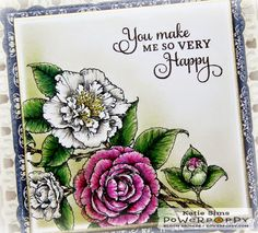 Inky Peach Designs: Camellias Digital Stamp Set by Power Poppy, card design by Katie Sims.