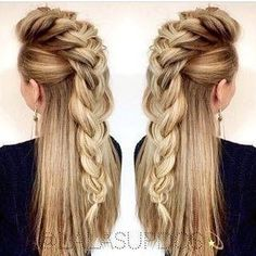 viking ponytail women - Google Search Mohawk Hairstyles For Women, Pretty Hairstyles, Braided Hairstyles, Viking Hairstyles, Feathered Hairstyles, Braided Mohawk, Brunette Hairstyles, Faux Hawk Braid, Faux Hawk Hairstyles